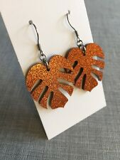 Monstera Leaf Dangle Earrings, Amber Glitter Acrylic, Surgical Steel Hooks