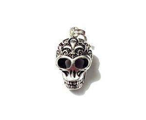 Anhänger Schädel versilbert 1,4 x 2,9 cm Totenkopf Skull Kettenanhänger