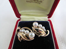Vintage Estate Mikimoto Graduated Pearl Earrings 14K Settings In Original Box