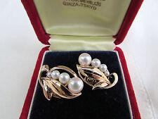 Vintage Estate Mikimoto Graduated Pearl Earrings 14k Settings In Original Box