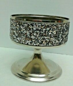 BATH AND BODY WORKS Silver Glittery Pedestal 3 WICK CANDLE HOLDER