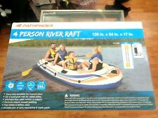 Pathfinder 4 Person Inflatable Raft Boat With Pump & Oars Sports River Canoe Raf