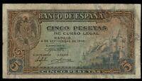 Billete de España 5 pesetas 1940 G3058151  DAÑADO DESPERFECTOS