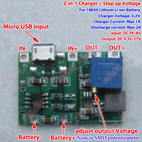 USB 3.7V Lithium Li-ion Battery Charger Module 4.2V Boost Step Up 5V 9V 12V 24V