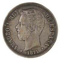 Raw 1871 Spain 5 Pesetas Uncertified Ungraded Spanish Silver Coin