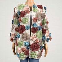 NEW John Mark Wild Flower Floral Blazer Jacket SMALL 3D Floral Chiffon Applique