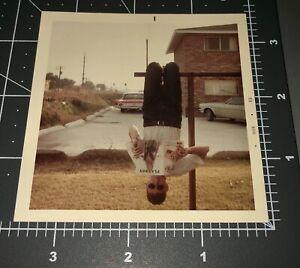 Man w/ August 68 Playboy Mag Weird Hanging UPSIDE DOWN Vintage Snapshot PHOTO