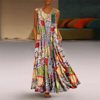 Women Vintage Floral Patch Print Dress Sleeveless O-Neck Casual Loose Maxi Dress