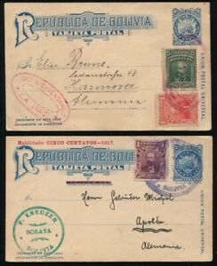 BOLIVIA POSTAL STATIONERY RARITIES 1914 AND 1932