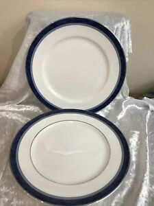 TWO Royal Doulton St Andrews Blue Marble Dinner Plates Hand Made & Decorated  GA