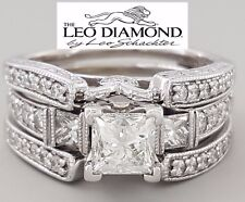 The LEO 1.49 ct 14K W Gold Princess Diamond Wedding Band & Engagement Ring Set