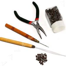Micro Rings Hair Extension Loop Needle Threader Plier +500 Brown Beads Tool