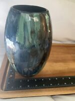 "Vintage Art Glass Vase 9""Tall Made In India Blue Green …"