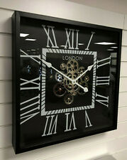 Silver & Black Square Mechanical Skeleton Moving Gear Wall Clock Vintage Retro