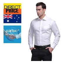 Mens Shirt Poplin Top Business Long Short Sleeve Formal Corporate Office Wedding