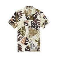 Made in Hawaii Men Aloha Shirt Luau Cruise Party Tropical Leaves Olive Green