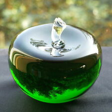 Solid Green Glass Crystal 3D Apple Paperweight Ornament