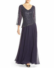 New J KARA Embellished Beaded V Neck Chiffon Gown Dress Violet Navy Blue 8