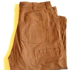 Duluth Trading Company flex fire hose canvas work pants BROWN 34 x 32 5-pocket