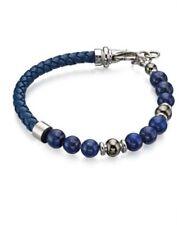 Fred Bennett Stainless Steel Blue Lapis Bead Leather Bracelet B4871