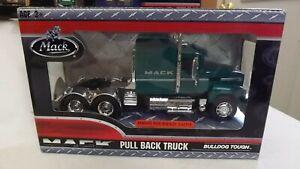 Mack Pull Back Green Semi Truck Rawhide with Mid Rise Sleeper