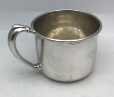 Vintage BIRKS Sterling Baby Cup Mug with Ornate Scroll Band Gold Wash Interior
