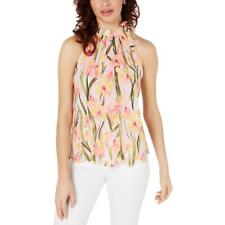 Maison Jules Womens Pink Tie-Neck Pleated Scalloped Blouse Top XXL BHFO 5227