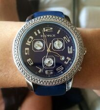 BEAUTIFUL LARGE DARK BLUE ROC ICE WATCH WITH  DIAMONDS MOTHER OF PEARL  LEATHER
