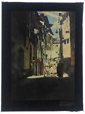 Photo Autochrome 9x12 / scène de rue village Provence Marseille? fil à linge