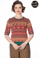 Women's Retro Vintage PLUS SIZE Christmas Pud Jumper Top By BANNED Apparel