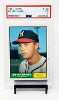 1961 Topps HOF Milwaukee Braves ED MATHEWS Vintage Baseball Card PSA 3 VERY GOOD