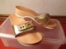 Dr. Scholl Damen Pantoletten Sandalen Holzclogs Schuhe Gold Gr. 36 NEU