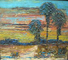 ANTIQUE OIL PAINTING ALICE SAVAGE VON BRIESEN SAN DIEGO CALIFORNIA DESERT PALMS