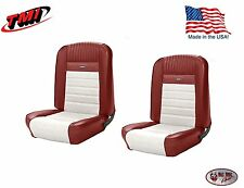 Full Set Deluxe PONY Seat Upholstery Mustang Fastback, F/R, Bright Red & White