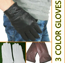Men's Black White Brown 100% Real Leather Winter Warm Driving Gloves