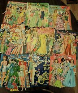 HUGE LOT 180 VTG 1940'S?  PAPER DOLLS & CLOTHES MOVIE STARS GRABLE LAMAR TEMPLEE