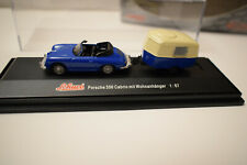 1:87 Schuco Porsche 356 Cabrio mit Wohnanhänger blau NEU
