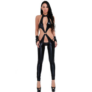 Womens Wetlook Leather Lingerie Leotard Bodysuit Zipper Lace-up Catsuit Clubwear