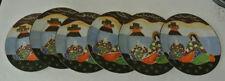 "6PC SET Japanese SATSUMA BUDDHA GODDESS Moriage Hand Painted 7 1/4"" PLATES Japan"