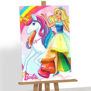Barbie Dolls Unicorn Framed Canvas Print Picture Girls Kids Bedroom Wall Art A1