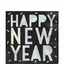 Happy New Year Party Tableware Disco Ball Drop Foil Stamp Napkins x 16