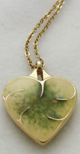 "Signed Monet gold tone metal 15"" necklace with enamel heart shaped pendant"