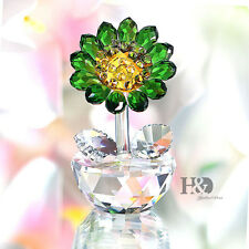 Crystal Glass Green Sunflower Xmas Decor Paperweight Figurine Ornament Gift