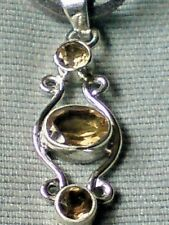 "STERLING SILVER 35mm PENDANT WITH 3 CITRINE STONESon a18"" SUEDE THONG £16.95 NWT"