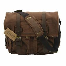 Mens Shoulder Bag Vintage Military Men Canvas Leather Messenger Laptop School