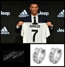 Men's/boy's Ronaldo 18ct White Gold Plate Cubic Zirconia Crystal Earrings