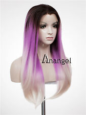 Purple Lace Front Wig Grey Straight Heat Resistant Synthetic Hair Party Wigs