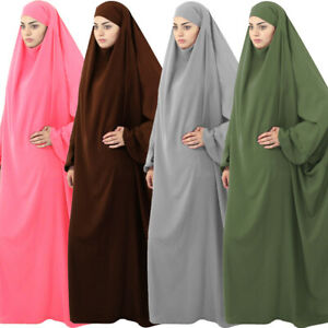 Muslim Prayer Dress One Piece Overhead Khimar Jilbab Abaya Kaftan Islamic Robe