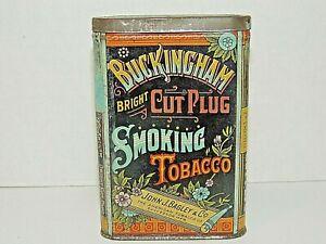 Antique Buckingham Bright Cut Plug Smoking Tobacco Pocket Tin, Vintage