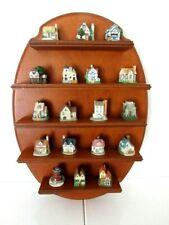 WALL WOOD CURIO DISPLAY COLLECTIBLE SHELF - RESIN MINIATURE HOUSES